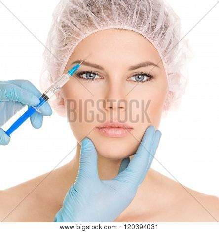 Cosmetic injection in brow zone, isolated on white background