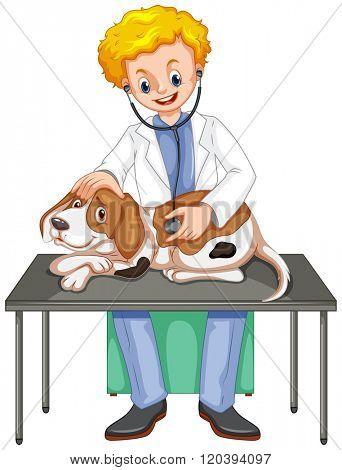 Vet checking up dog with stethoscope illustration
