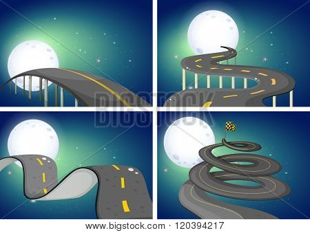 Four night scenes of empty roads illustration