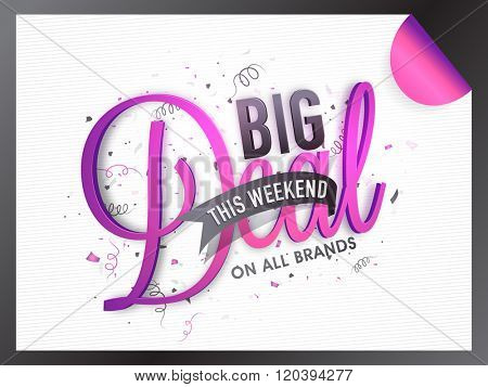 Big Deal Sale Banner, Sale Poster, Sale Flyer, Sale Vector. 40% Off, Sale Background. Big Sale, Super Sale, Special Offer, Weekend Sale.Vector illustration.