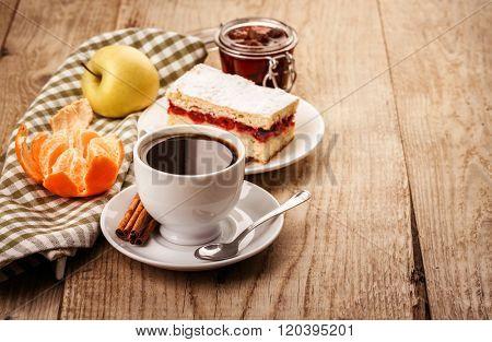 Cup coffee breakfast rustic style on wooden board