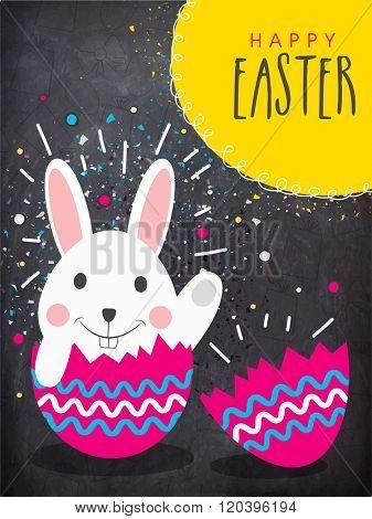 Cute Bunny in a cracked Egg on chalkboard background, Elegant Pamphlet, Banner or Flyer for Happy Easter celebration.