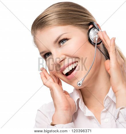Close-up of happy woman receptionist with headphones, isolated