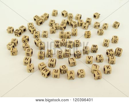 Cubes With Letters Make Up The Word, English Alphabet