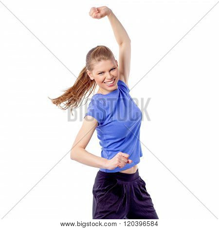 Energetic fitness woman exercising latin aerobics zumba dance