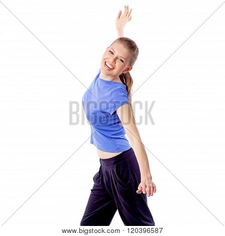 Fresh energetic female doing aerobics zumba dance isolated