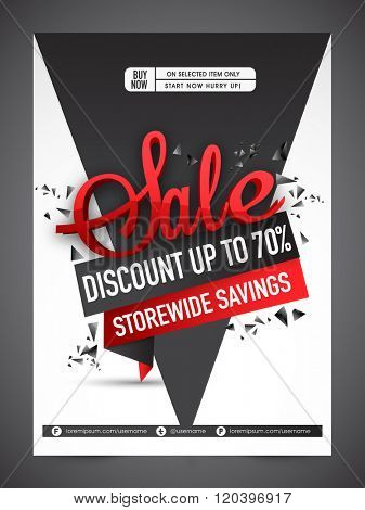 Sale Banner, Sale Poster, Sale Flyer, Sale Vector. 70% Off, Sale Background. Big Sale, Super Sale, Special Offer. Vector illustration.
