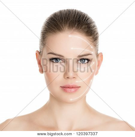Rejuvenation treatment on beautiful woman face, isolated