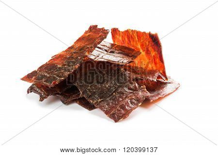 Beef Jerky Isolated On A White Studio Background