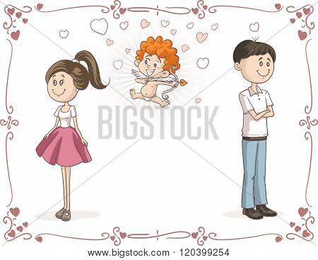 Couple Finding Love With Cupid Vector Cartoon