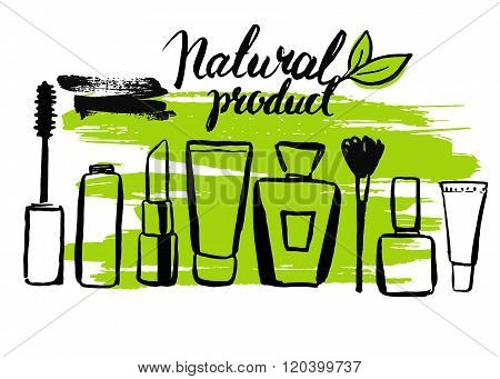 Set brush hand drawn natural eco cosmetics
