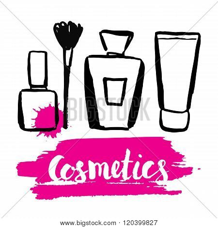 Set brush hand drawn cosmetics