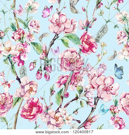 Spring seamless background with pink flowers
