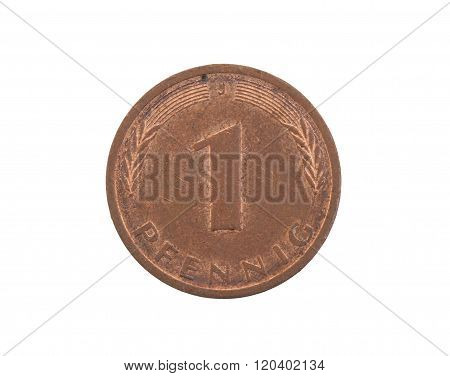 One Pfennig Coin From Germany