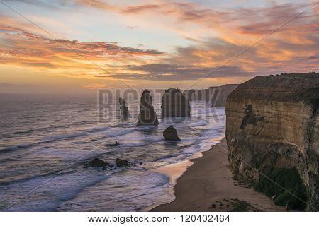 Spectacular view of the Twelve Apostles at sunset. Great Ocean Road, Victoria, Australia