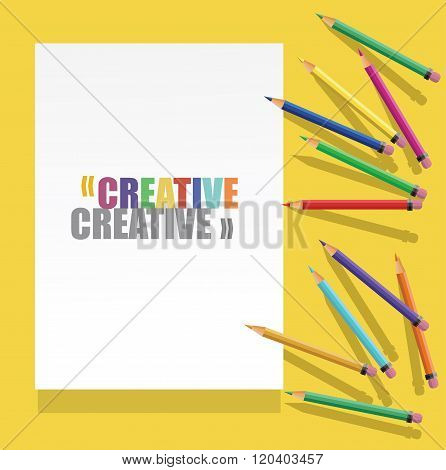 vector Color pencils with white paper with text