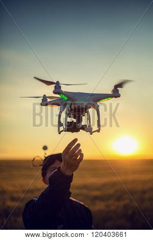 Varna, Bulgaria - June 23 ,2015: Flying Drone Quadcopter Dji Phantom 2 With Digital Camera Gopro Her