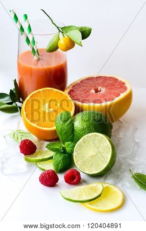 Fresh Squeezed Citrus Juice For Healthy Snack White Background Vertical
