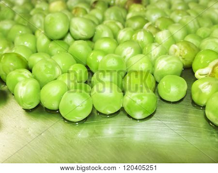 Green Peas And Pea Fruit The Legume On White.