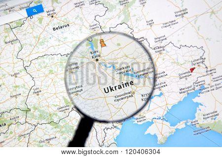 Ukraine On Map.
