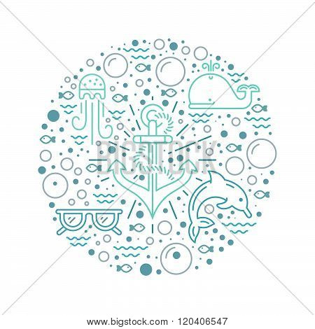 Modern vector illustration of undersea life with different sea creatures and anchor in the middle. Underwater world. Summer adventure illustration. Graphic element for diving school aquarium or ocean cruise.