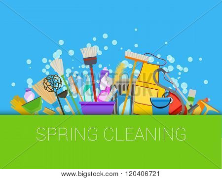Spring cleaning composition background. Set of cleaning supplies