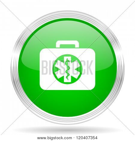 rescue kit green modern design web glossy icon