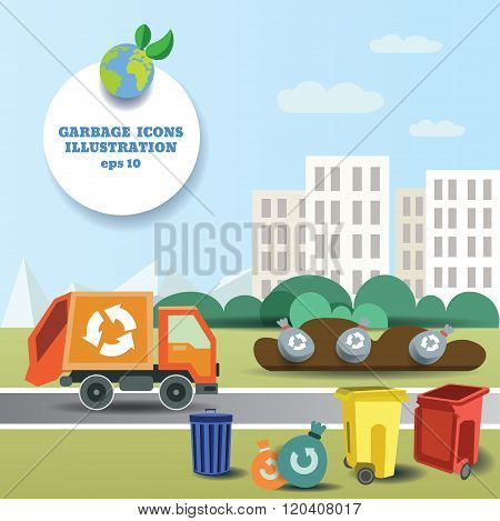 illustration of garbage transportation to dump near the city and icon collection
