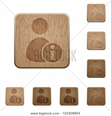 User Account Information Wooden Buttons