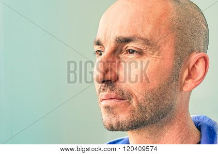 Male Model In Pensive Mood - Thoughtful Caucasian Guy Looking Away - Middle Age Man With Serious Con