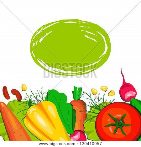 Template vector card with vegetables