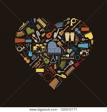Musical Heart. Variety of colorful musical instruments icons arranged in heart shape on black background