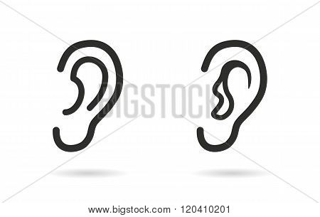 Ear vector icon. Black illustration isolated on white background for graphic and web design.