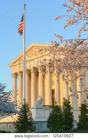 Supreme Court of United States Building in Spring time - Washington DC USA