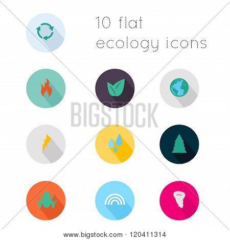 Modern Flat Icons Vector Collection With Long Shadow Effect In Stylish Colors Of Ecology Theme. Isol