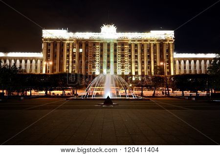 Night view of Moscow Square In Saint Petersburg with colourful illumination