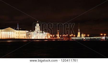 Panoranic view of Saint Petersburg city and embankment by night