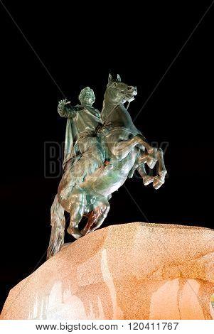Statue of Copper Rider (Medniy Vsadnik) in Saint Petersburg by night