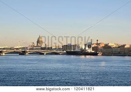 Saint Petersburg embankment and Neva river
