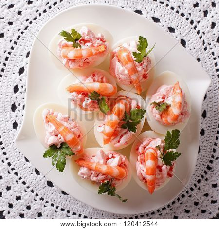 Eggs Stuffed With Prawns And Cream Cheese Close Up. Top View