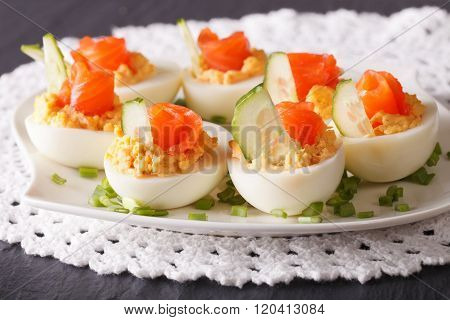 Eggs Stuffed With Salmon Close-up On A Plate. Horizontal