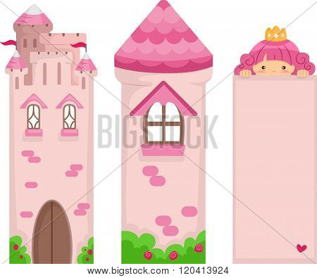 Illustration of a set of Pink Princess Bookmark Printables