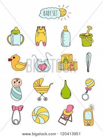 Colorful Set Of Children's Icons In Hand Drawn Style. Accessories, Clothing And Toys For Newborn