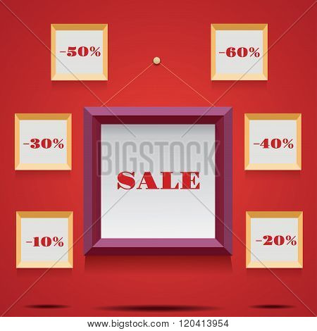 sale illustration with frames and canvases. vector illustration