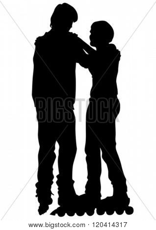 Silhouette of boy and girl on roller skates on white background