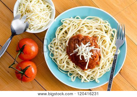 Plate Of Pasta And Gruyere Cheese In Dish