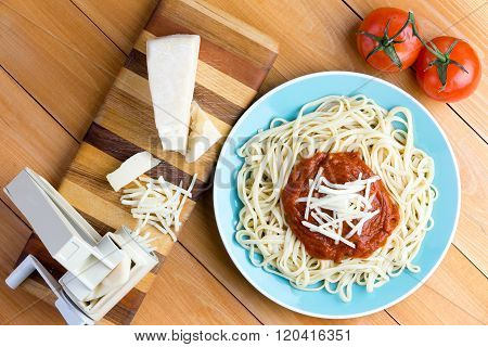 Pasta Press With Gruyere Cheese And Spaghetti