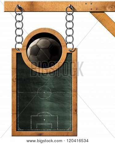 Football Soccer - Blackboard With Chain