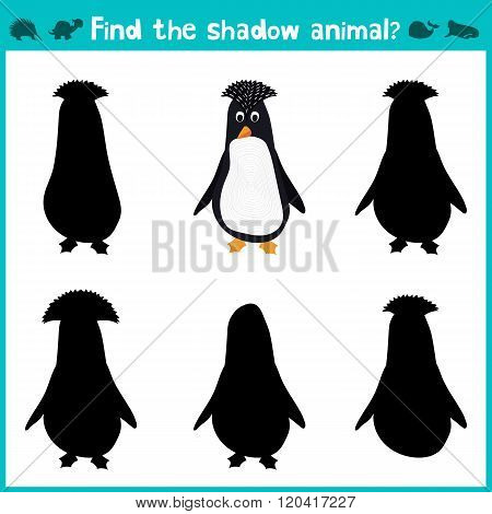 Educational Children Cartoon Game For Children Of Preschool Age. Find The Right Shade Cute Antarctic