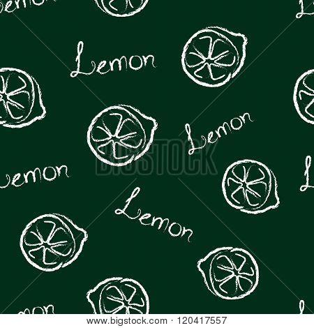 Seamless Pattern Lemon and the Words Lemon